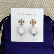 NWT Tory Burch Kira Gold Logo Pearl Drop Earrings with pouch
