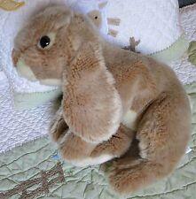 "Animal Alley Beige Plush Life Like Stuffed Heavy Bean Bag Bunny Rabbit 12"" EUC"