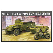 ACADEMY #13408 1/72 Plastic Model Kit M3 Half Track&1/4ton Amphibian Vehicle