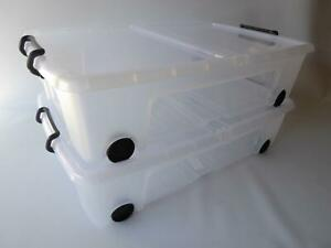 2 x 35Ltr Under the Bed Storage Box With Wheels