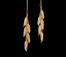 *CKstella* Dancing Feather GP Gold Threader 14K Gold Vermeil Ear Thread Earrings