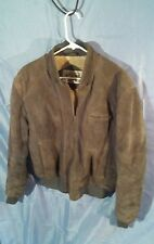 Vintage American Eagle Outfitters Men's Gray Suede Leather Jacket Lined sz 42