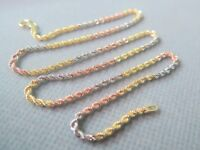 """Real 18k Multi-tone Gold Unique Great Rope Chain Link Necklace 2-2.5g 15.7""""L"""