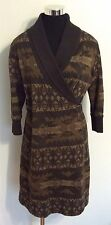 Ralph Lauren Sweater Dress South West Aztec Print Brown Women's Size M