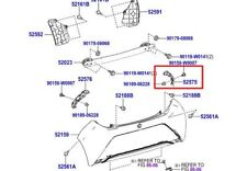 Genuine Toyota Aygo 2014-Rear Bumper RH Bracket 52575-0H031