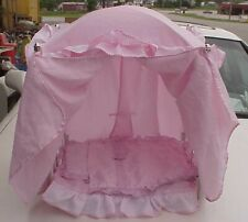 """VINTAGE WHITE & PINK WIRE METAL DOLL BED 12X18"""" MATTRESSES & COVER"""