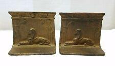 "Vintage Antique Bradley Hubbard Cast Iron Metal Sphinx Egyptian Book Ends 4.5"""