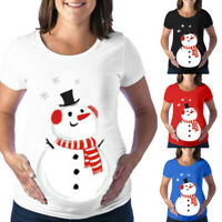Womens Pregnant Maternity O-Neck Short Sleeve Print Christmas T-shirt Blouse Top