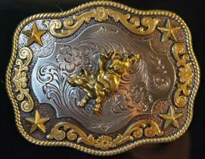 Nocona Belt Buckle BULL RIDER Gold & Silver Tone M & F Western cowboy 3798702