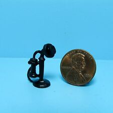 Dollhouse Miniature Old Fashion Phone in Black ~ MUL571