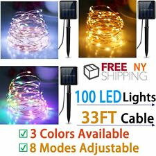 Solar LED Light Wire String Strip Rope Car Dance Party Controller 100 LED 8 mode