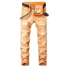 Moderno Hombre envejecido Rasgado Motero Entallado Broken Jeans Ajustada MOTO