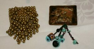 LOT OF 2 VINTAGE PENDANTS (1)HANGING BRASS BALLS (2) COPPER WITH BEADS HANGING