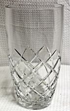 "Vintage Bohemia Crystal Fine Cut Lead Crystal 10"" Barrel Vase"