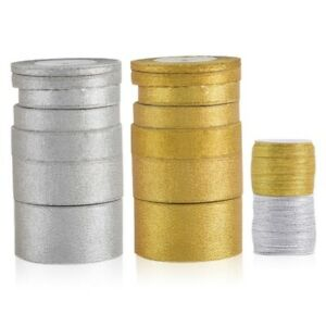 25/50 Yards Craft Gold/Silver Sheer Organza Ribbon Bows Wedding Décor DIY 8Size