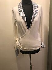 GANT Wrap Stripe Nautical Detail Cotton Blend Cardigan Size L