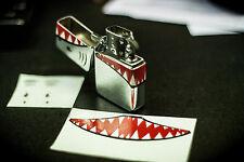 LOT OF 2 X2 PYRO XMEN DECAL PROP STICKER FLIP TOP LIGHTER WW2 MOVIE SHARKS MOUTH