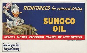 Sunoco Oil Ink Blotter Donald Duck Driving Jeep Brandishing Sword