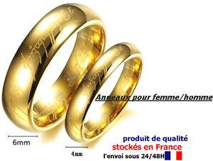BAGUE SEIGNEUR DES ANNEAUX PLAQUÉ OR BELLE ALLIANCE LARGEUR 4/6 MM, FEMME/HOMME