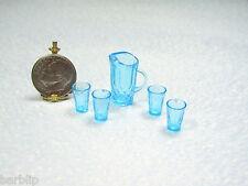 Dollhouse Miniature  Light Blue Plastic Chrysnbon Pitcher & 4 Glasses