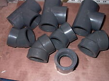 LOT OF EIGHT  ASSORTED GRAY P V C SCH 80 THREADED PIPE FITTINGS