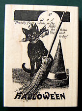 Halloween Cat  NEW rubber stamp WM P5