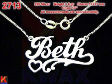 BETH Personalized 925 Sterling Silver Name Necklace Handcrafted Custom Pendant