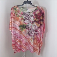 New Avenue Womens Plus Size Embellished Poncho Top Tunic 1X 2X Summer Spring