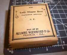 Vintage Allaire Woodward, LADY SLIPPER ROOT, 1900s Pharmacy New unopened box NOS