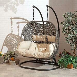 LuxeDouble twin rattan egg Chair Swing outdoor Hanging Garden Furniture Cushion