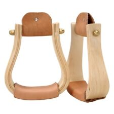 "Tough-1 Royal King Hardwood Bell Western Stirrups with 3"" Neck and Leather Tread"