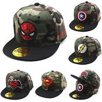Kids Boys Girls Baseball Cap Superhero Batman Spiderman Camo Snapback Sun Hat