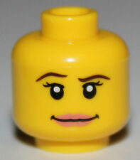 LeGo Yellow Minifig Head Female w/ Pink Lips Brown Eyebrows & White Pupils