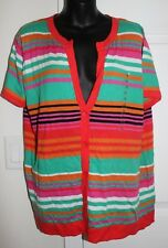 NWT Jones New York Sport Woman 1x Short Sleeve Striped Sweater Cardigan