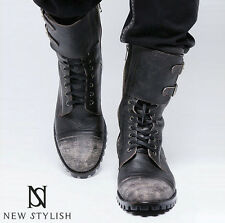New NS Mens Runway Casual Footwear Badass Military Vintage Hand-Made Biker Boots