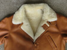 Men's Tan Brown IQEDA Sheepskin Shearling Chin Strap Winter Jacket Coat Sz-52