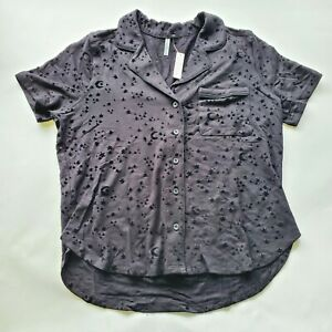 Z Supply Black Moon Stars Womens Large Soft Button Up Pajama Top
