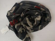 [Korea] MVIO Gray with Camouflage Patterns Print Long 100% Wool Scarf Shawl