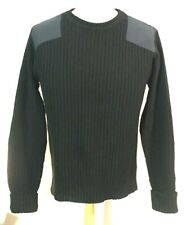LL Bean Black Wool Ribbed Hunting Sweater, Elbow &  Shoulder Patches Size M-Reg