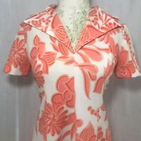 Vintage 70s Peach White Floral Handmade Polyester Hostess Maxi Dress Size S
