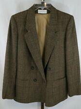 Evan Picone Womens Ladies Brown Houndstooth Wool Blend Blazer Size 10