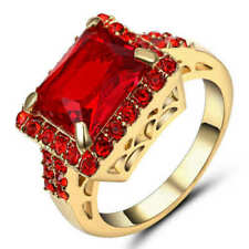 Vintage Big Square Red Stone Ruby Engagement Ring 18k Yellow Gold Filled Size 7