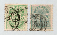 Denmark - Sc# 35 & 37 Used / Small Numerals      /      Lot 0121604