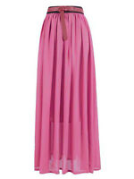 Size S Women Lady Chiffon Pleated Retro Long Maxi Dress Elastic Waist Skirt