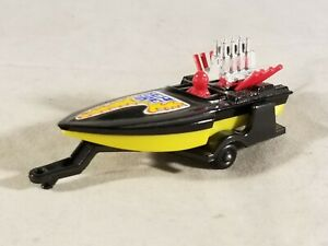 Matchbox #5 Seafire Boat & Trailer / Black Deck - Red Driver - Yellow Hull  RARE