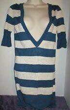 DKNY Jeans Womens Juniors Sweater Dress Blue & Gold Striped  Size Small EUC