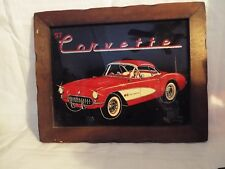 Collectible 1957 Red Corvette - Wood Framed Wall Art Reverse Painting on Glass