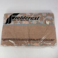 Vintage Fieldcrest Queen Flat Percale Sheet - Desert Floral - 80s - New