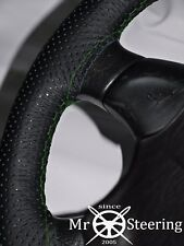 FITS MAZDA BRAVO 98-06 PERFORATED LEATHER STEERING WHEEL COVER GREEN DOUBLE STCH