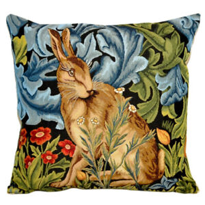 18x18 William Morris Hare Tapestry Pillow, Sofa/Bed Decorative Pillow